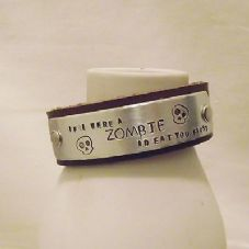 "Lovely Handmade Personalised ""...ZOMBIE..."" Leather Statement Cuff Bangle"